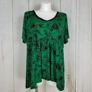 Catherines Green Tropical Print Boho Blouse